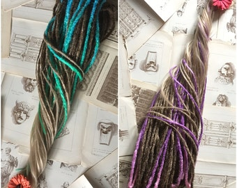DREADS Fairy tail. x10 or FULL set synthetic double ended or single ended dreadlocks. Crochet or classic. Ombre blue dreads, pink dreads