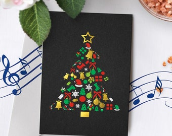Gold Foil Christmas Card With Music | Black Christmas Card, Christmas Tree Card, Christmas Card, Gold Foil Card, Gold Foiled 00001