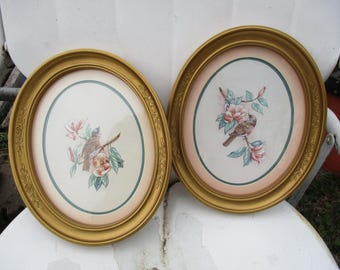 REDUCED Vtg Pair 1983 SYROCO Style Framed Birds Pink Flower Prints Oval Shaped Homco Ornate Gold Wall Art Picture Frames & Homco pictures | Etsy