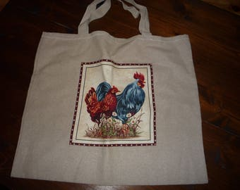 Shopping bag, linen bag, Rooster motif, French Rooster bag, tote bag