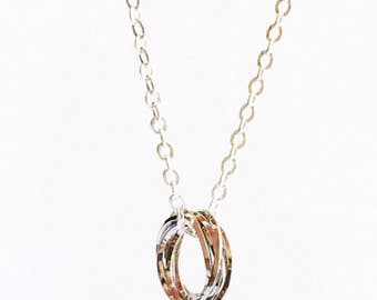 White Gold Ring Necklace, Circle Necklace