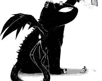 Cat Dragon Reading Powers Art Print