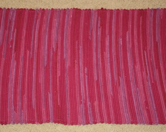 Handwoven Rag Rug - Bright Mixed Berry - pinks and purples  - 39 inches....(#42)