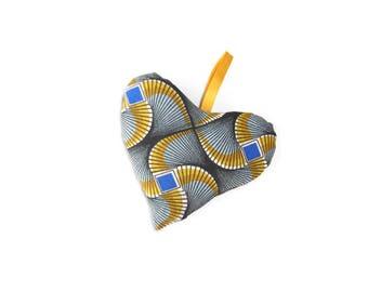 African wax fabric heart Lavender sachet