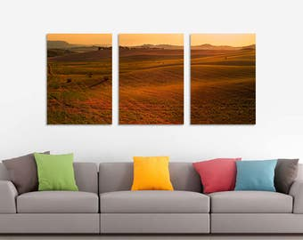LIMITED EDITION - Rolling - Tuscany, Italy - 3 Panels Art Canvas Print - Home Decor interior