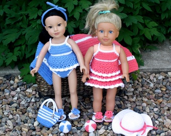 Beach Set for 18 inch Doll pdf PATTERNS (digital download), sunsuit, swimsuit, sandals, hat, beach ball, beach bag, crochet