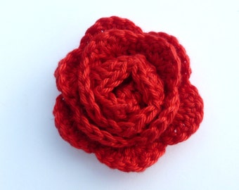 Crochet appliques, Crochet flowers, 1 medium red crochet rose cardmaking, scrapbooking, appliques, craft embellishments, sewing accessories.