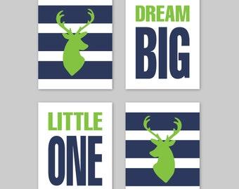 Baby Boy Nursery Art - Deer Nursery Art, Deer Nursery Decor, Deer Wall Art, Deer Bedroom Art, Dream Big Little One, Deer Prints, Navy Green
