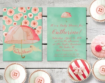 Baby Shower Invitations / PRINTED Baby Shower Invitation in Mint Green & Coral Pink or Coral Peach / BabyShower Cards in Watercolor Umbrella