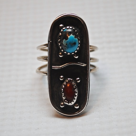 Native American Sterling Silver Turquoise Coral Ring Sz 9.5 #4096