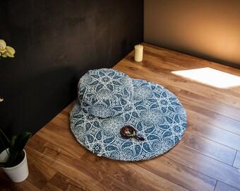 Meditation sit set Zafu Zabuton combo Blue Mandala cushion mat both WASHABLE cotton organic Buckwheat pillow handmade by Creations Mariposa