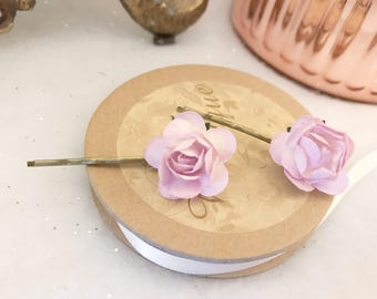 Set of Two Baby Pink Vintage Rose Bridal Bridesmaids Floral Wedding Hair Pins Clips boho festival floral hair accessories