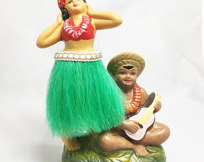 Dashboard Vintage Hula Girl and Ukulele Boy Doll