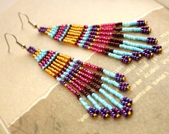 Seed bead fringe earrings Unique statement earrings Long boho dangle earrings Fashion long earrings Long fringe beaded earrings Boho earring