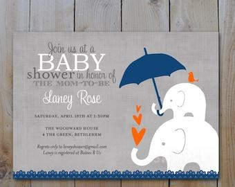 Elephant Baby Shower Invitation, Navy Blue and Orange Baby Shower Invitation, Elephant  Baby and Momma, Printable Invitations, Item #11032