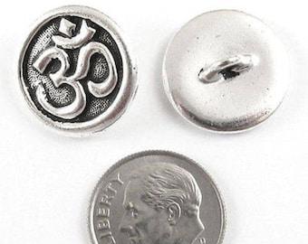 TierraCast Pewter Buttons-Fine Silver Om Ohm Symbol (2)