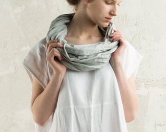 Grey infinity scarf, Dove grey linen scarf, Linen infinity scarf, Dove grey scarf, Natural scarf, Light grey women scarf or linen men scarf