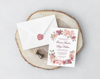 Burgundy and Blush Wedding Invitation and RSVP // Watercolor Florals Romantic Desert Invitations Card Marsala Pink Peach Sage Green