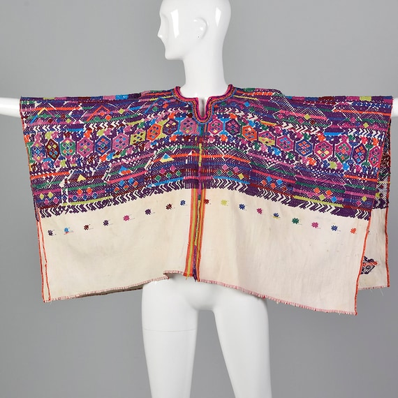 Poncho Huipil Cotton Bohemian Loomed Hand 1950s waPvAq