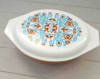 PYREX Casserole Dish Navajo Aztec embroidery brown blue pattern