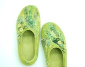 Felted slippers wool clogs felt shoes KATE in green & yellow Custom made colors any sizes