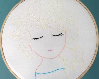 Elsa Embroidered Hoop Art Wall Hanging
