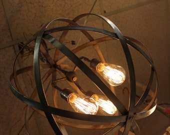 Orb chandelier industrial sphere 18 with 3 sockets metal orb chandelier industrial sphere with 3 sockets 30 metal wine barrel strap globe hanging aloadofball Image collections