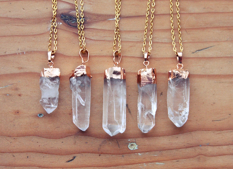 Gold Dipped Raw Quartz Crystal Point Necklace Rough Clear