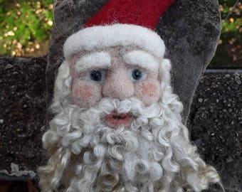 Felt Santa Claus Ornament / Needle Felted Wool Christmas Decoration / Natural Waldorf Yule Decorations / Santa Face