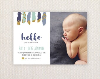 Boys Photo Birth Announcement. Glitter Feathers. I Customize, You Print.