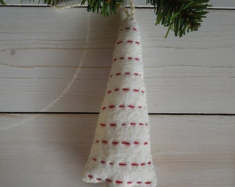 Tree Ornaments - Wool Felt Blend - White with Red Trim
