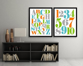 Nursery Alphabet Art Numbers, Alphabet Art Print, Alphabet Poster, Alphabet Artwork, ABC Wall Art, Printable Alpabet, Digital Download, DIY