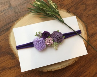 Purple tie-back headband