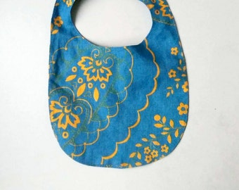 Hand made from linen  baby bib Ready to ship Fashionable gift for baby showers Adjustable closure Made by JolantaPF Usable on both sides