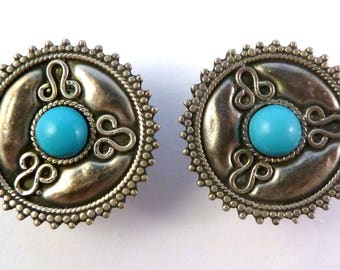 Vintage Silver Earrings, Sterling Silver,  Large Hemimorphite Gem,  Mexican Style Earrings.