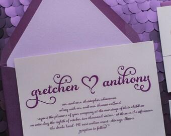 Digital Printing - Purple Romantic Wedding Invitations - SAMPLE (GRETCHEN)