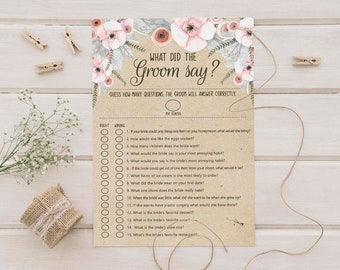Bridal Shower Game // What Did The Groom Say // Instant Download// DIGITAL FILE Only