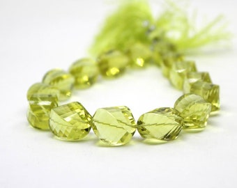 Sparkling Lemon Quartz | Faceted Twist Twisted Rondelles 15x10 mm | Lemon quartz faceted oval beads | Sold in set of 5 Beads