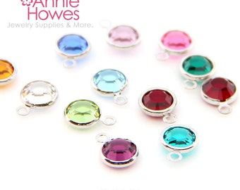 5 Swarovski Birthstone Charms. Rhodium Plated formerly Silver Plated. 6mm. 5 pack. Choose your colors. 1128 SS29.