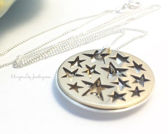 Sterling Silver ~ Bronze ~ Star Cut Out ~ Anniversary ~ Teacher Gift ~ Locket Necklace ~ Hand Stamped ~ Empowerment ~ Affirmation ~ BFF