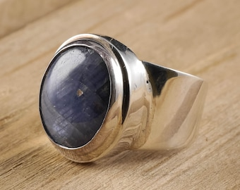 Size 8 Blue SAPPHIRE Ring - Sterling Silver Bezel Ring Handmade Jewelry - Natural Sapphire Stone Cabochon - Sapphire Jewelry J977