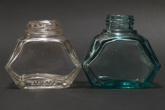 vintage ink bottle set of 2 edgy bottles clear glass aqua glass watermans ink rustic decor small vases home decor - Baos Vintage