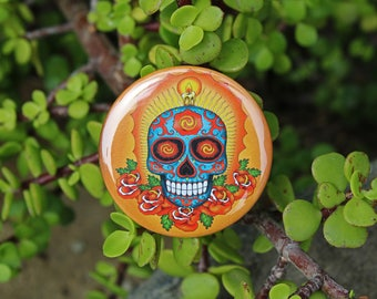 Dia de los Muertos - Pinback or Magnet Button or Badge Reel