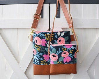 Beautiful Blue Rosa mommy & me set cross-body (Rifle Paper Co.)