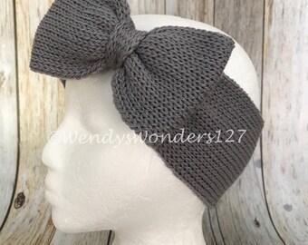 Knit Headband with Bow, Bow Headband, Adult Headband