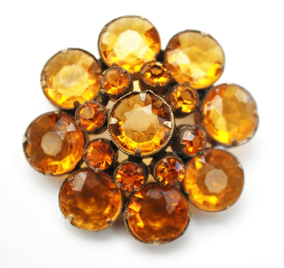 Amber Rhinestone Flower Brooch - Signed Czecho -  Orange Crystal - open back gold plated - Citrine glass -  pin