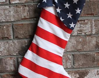 Patriotic Christmas stocking- personalized Christmas stocking