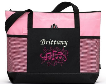 Personalized Music Notes Music Lover / Music Teacher Zippered Tote Bag With Mesh Pockets, Beach Bag, Boating