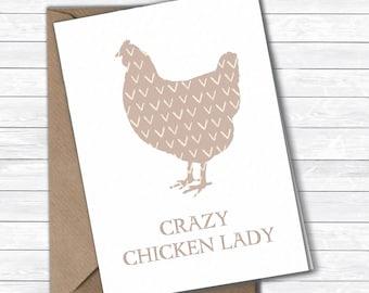 Crazy Chicken Lady card/postcard, Chicken Hen card