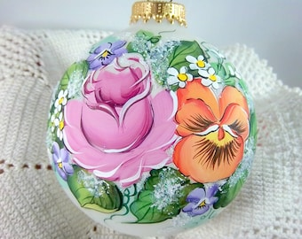 Victorian Glass Ornament, Rose, Pansy, Violet, Pinks, Purple, Deep Peach, Free Inscription, Keepsake Ornament